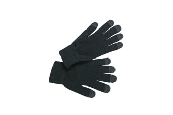 Myrtle Beach Adults Unisex Touch Screen Knitted Gloves (Black) (S/M)