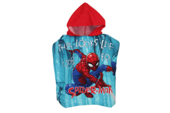 Spider-Man Childrens/Kids This Looks Like A Job For Spiderman Towelling Poncho (Blue)