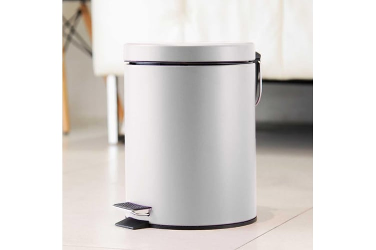 SOGA 2X 7L Foot Pedal Stainless Steel Rubbish Recycling Garbage Waste Trash Bin Round White
