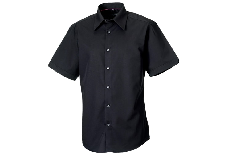 Russell Collection Mens Short Sleeve Tencel® Easy Care Fitted Shirt (Black) (3XL)