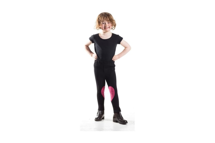 HyPERFORMANCE Childrens/Kids Heart Jodhpurs (Black/Hot Pink Hearts) (Small)