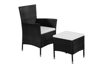 vidaXL Outdoor Chair and Stool with Cushions Poly Rattan Black