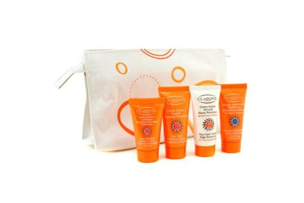 Clarins Travel Set: Sunscreen Cream + Soothing Cream + Wrinkle Control Cream + After Sun Moisturizer + Bag (4pcs+bag)