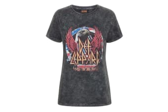 Def Leppard Womens/Ladies Acid Wash T-Shirt (Charcoal) (XL)