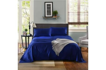 Kensington 1200 Thread Count 100% Egyptian Cotton Sheet Set Stripe Hotel Grade - Single - Indigo