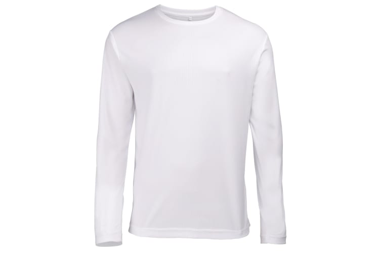 Just Cool Mens Long Sleeve Cool Sports Performance Plain T-Shirt (Arctic White) (S)