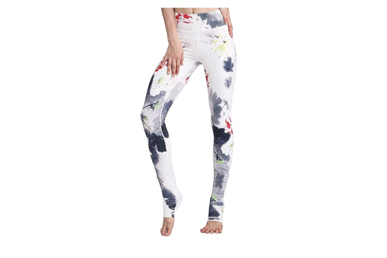 Women'S Printed Leggings High Waist Ligthweight Stretch Workout Yoga Pants White M