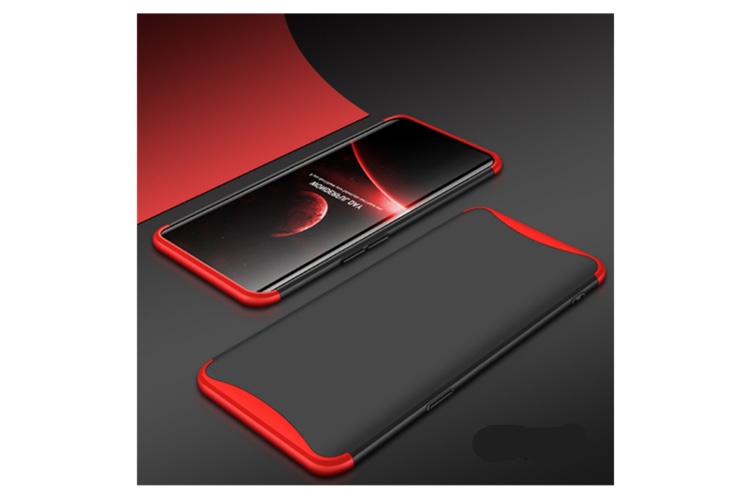 Frosted Shield Matte Plastic Ultra Thin Shockproof Case For Oppo Find X Red+Black Realme 2/A5(India)