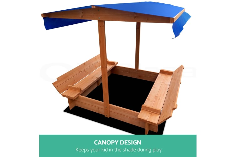 Deluxe Wooden Sandpit Toy Box With Canopy