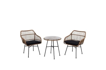 Luxo Mina 3pc Rope Outdoor Setting with Black Cushion