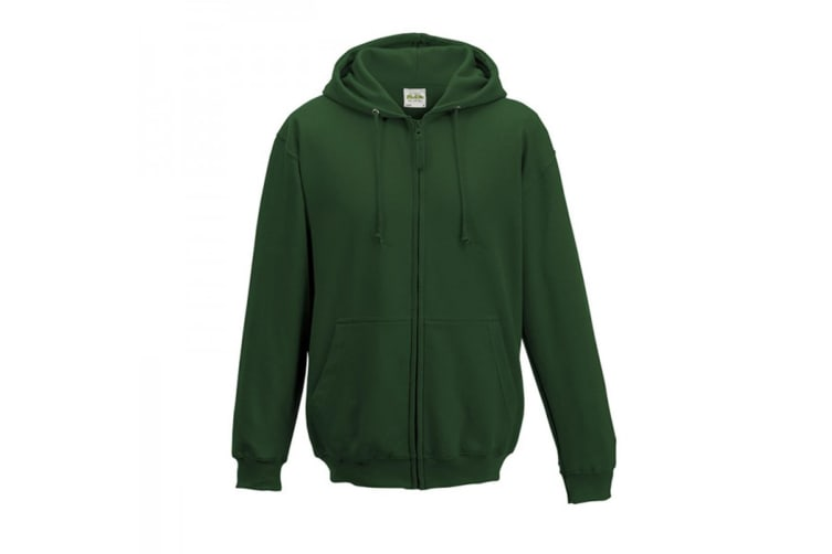 Awdis Plain Mens Hooded Full Zip Hoodie / Zoodie (Forest Green) (S)