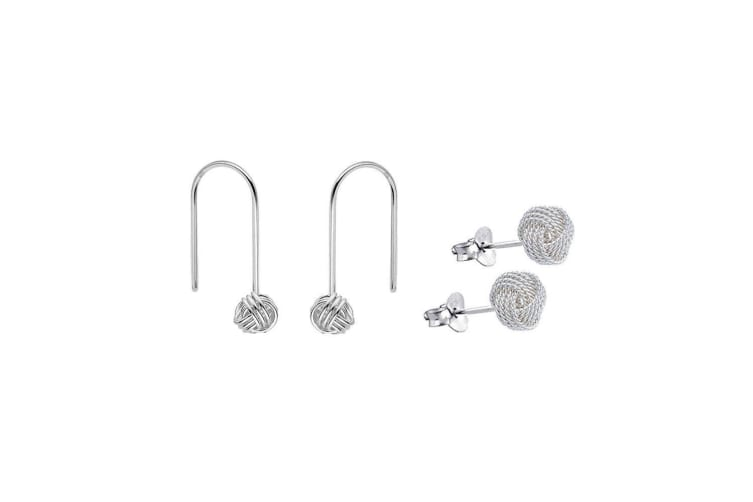 2PK Women 925 Sterling Silver Lover's Knot 28mm Hoop & 8mm Stud Earrings
