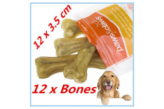 12 x NATURAL BEEF RAWHIDE BONES STICKS CHEWS LONG LASTING DOG TREAT ADULT PUPPY