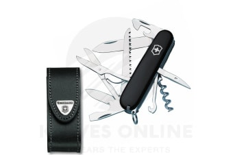 VICTORINOX SWISS ARMY KNIFE HUNTSMAN BLACK VICTORINOX + LEATHER BELT POUCH