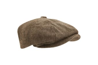 Mens Wool Blend Herringbone 8 Panel Newsboy Cap (Light Brown)