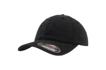 Flexfit Garment Washed Cotton Dad Baseball Cap (Black)