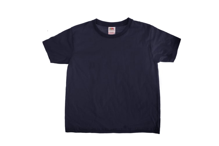 Fruit Of The Loom Kids Sofspun Short Sleeve T-Shirt (Pack of 2) (Deep Navy) (5-6)