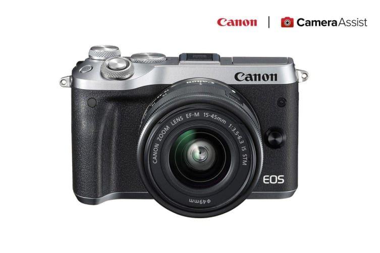 Canon EOS M6 Mirrorless Camera with EF-M15-45mm ST Lens - Silver (M6KISS)