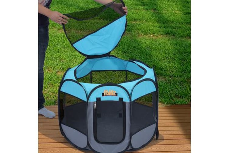 """Portable Pet Playpen with Collapsible Bowl in BLUE 48"""""""