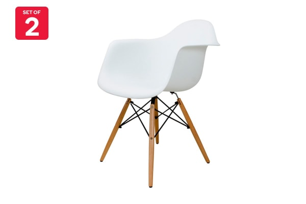 Ovela Set of 2 Eiffel DAW Dining Armchairs - Eames Replica (White)