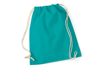 Westford Mill Cotton Gymsac Bag - 12 Litres (Emerald) (One Size)