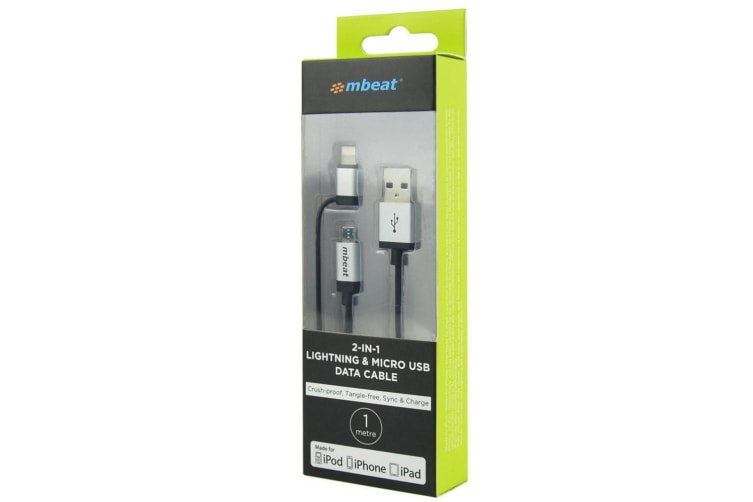 mbeat 1m Lightning to USB Lead/Micro USB Data for iPhone/Android Sync/Charging