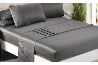 DreamZ Ultra Soft Silky Satin Bed Sheet Set in King Single Size Charcoal Colour