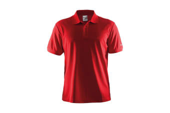 Craft Mens Classic Pique Short Sleeve Polo Shirt (Red)
