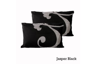 Pair of Quality Standard Pillowcases Jasper Black by Logan and Mason