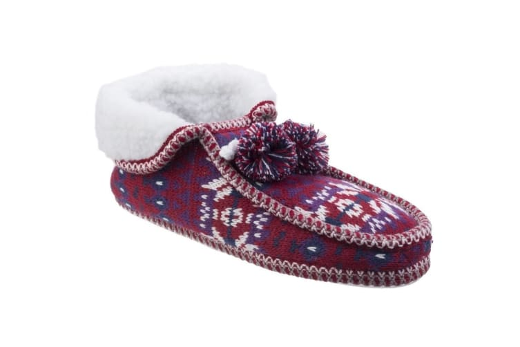 Divaz Womens/Ladies Lapland Knitted Slippers (Red) (Large)
