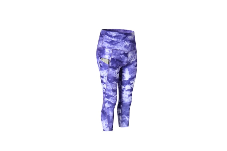 Women'S High Waist Printed Yoga Pants Tummy Control Workout Leggings - Ink Blue Blue M