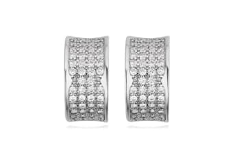 Pave Encrusted Huggie Earrings - White Gold