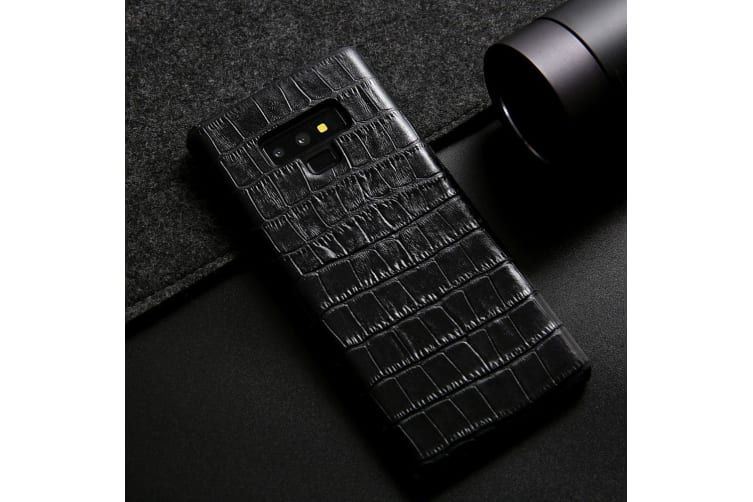 For Samsung Galaxy Note 9 Case Crocodile Genuine Leather Phone Cover Black