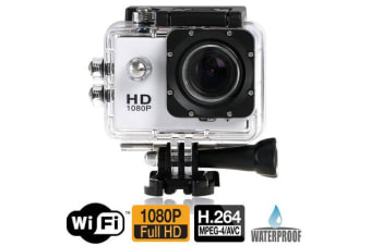 "Full Hd 1080P Sports Dv Camera 30M Waterproof + Wifi 1.5"" Lcd Mount White"