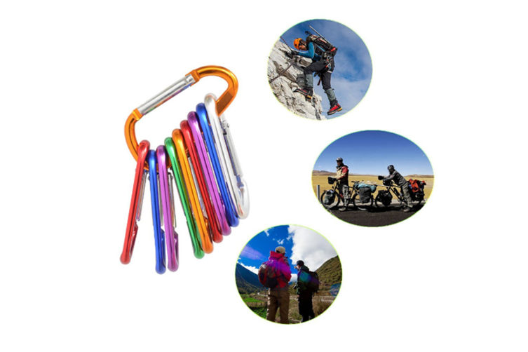 """12 Pack 3"""" D Shape Spring-Loaded Gate Aluminum Carabiners Clips Hook Keychain"""