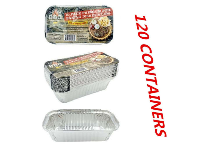 120 X Aluminum Foil Trays 20.5x11x5.5CM BBQ Disposable Roaster takeaway Oven Baking Party with Lids