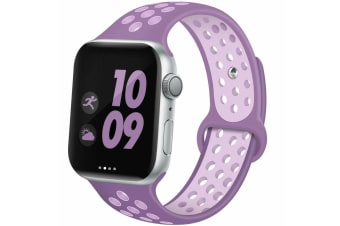 For Apple Watch Band Series 5 4 3 2 Sport Silicone iWatch Strap Band Wristband 38mm/40mm-Purple Pink