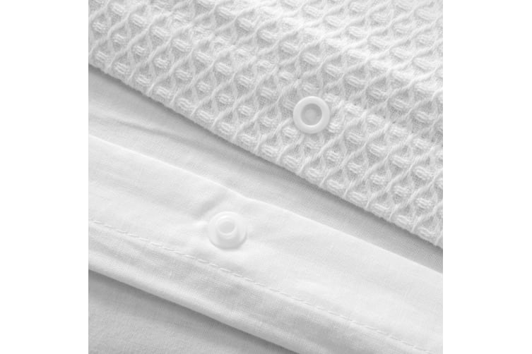 Dreamaker Amber Waffle Quilt Cover Set Queen Bed White
