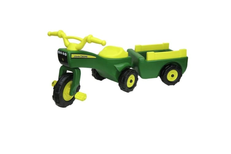 John Deere Kids Ride on Pedal Trike Tractor w Pull Wagon Children Toy Tricycle