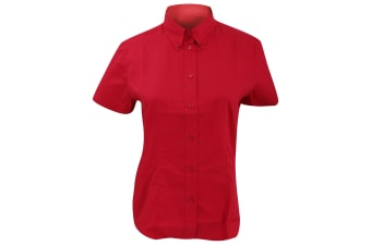 Kustom Kit Ladies Corporate Oxford Short Sleeve Shirt (Red) (14)