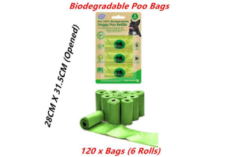 120 x Biodegradable Dog Poo Bags Eco Refill Roll Pet No Leak Disposable Waste Green