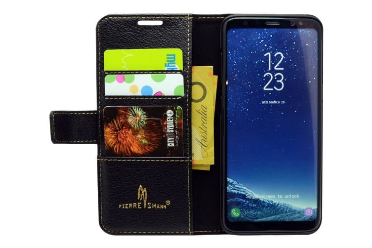 For Samsung Galaxy S8 PLUS Wallet Case Fierre Shann Cowhide Leather Cover Black