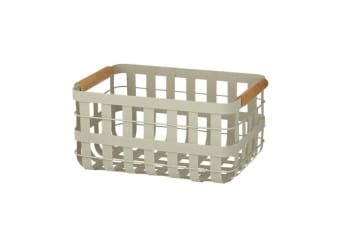 Pantry Storage Basket w/ Wooden Trim