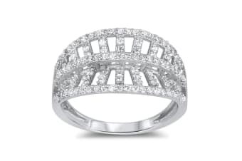 .925 Habour Cz Pave 925 Silver Ring-Silver/Clear   Size US 7