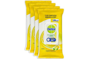 480pc Dettol Multipurpose Cleaning Kitchen Disposable Wet Wipes Lemon Lime Burst
