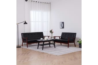 vidaXL Sofa Set 2 Piece Black Faux Leather