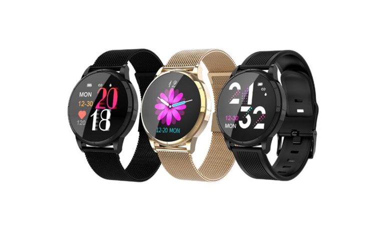 WJS Wallpaper Change Color Display Wristband Heart Rate Blood Pressure Female Period Monitor Smart Watch-A