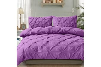 Diamond Pintuck Duvet/Doona/Quilt Cover US Size in PLUM - Queen