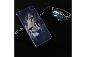 For iPhone XS Max Case Folio Leather Card Slots Wallet Phone Cover Lion Drawing