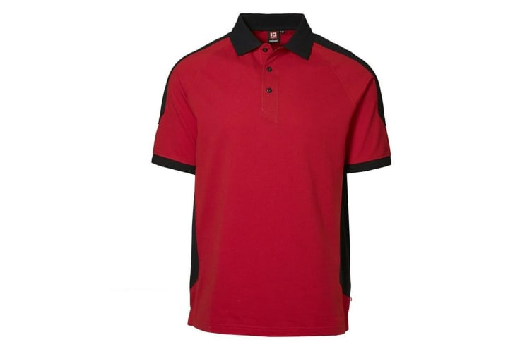 ID Mens Pro Wear Contrast Regular Fitting Short Sleeve Polo Shirt (Red) (XL)